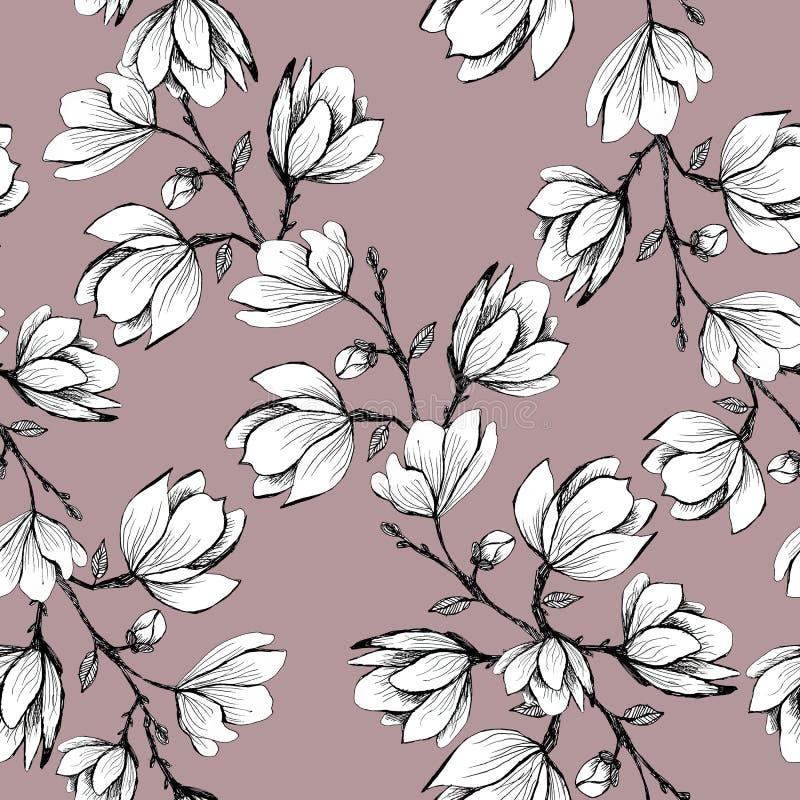Modelo incons?til floral Magnolia floreciente en un fondo rosado Impresi?n para la tela y otras superficies Ilustraci?n de la tra libre illustration