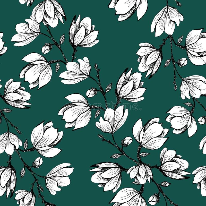 Modelo incons?til floral Magnolia floreciente en un fondo verde Impresi?n para la tela y otras superficies Ilustraci?n de la tram ilustración del vector