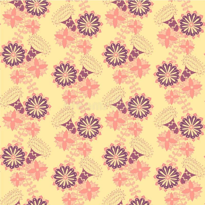 Modelo incons?til floral Ornamento decorativo amarillo violeta del rosa del elemento del diseño libre illustration