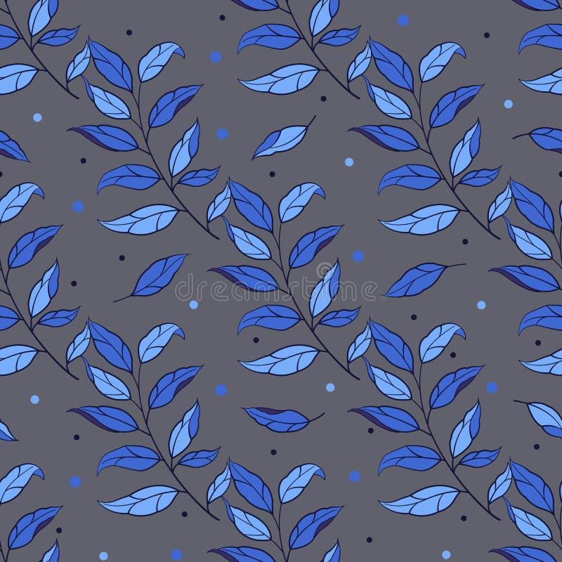 Modelo incons?til floral Ramas y hojas azules del vector en fondo oscuro stock de ilustración