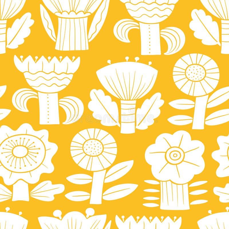 Modelo incons?til floral Siluetas de flores y de hojas abstractas Fondo del vector ilustración del vector