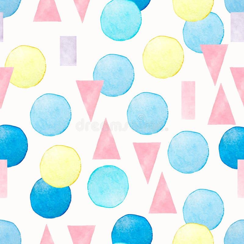 Modelo incons?til geom?trico de la acuarela abstracta Fondo con el círculo, triangular pintados a mano, líneas en azul, rosa y am ilustración del vector