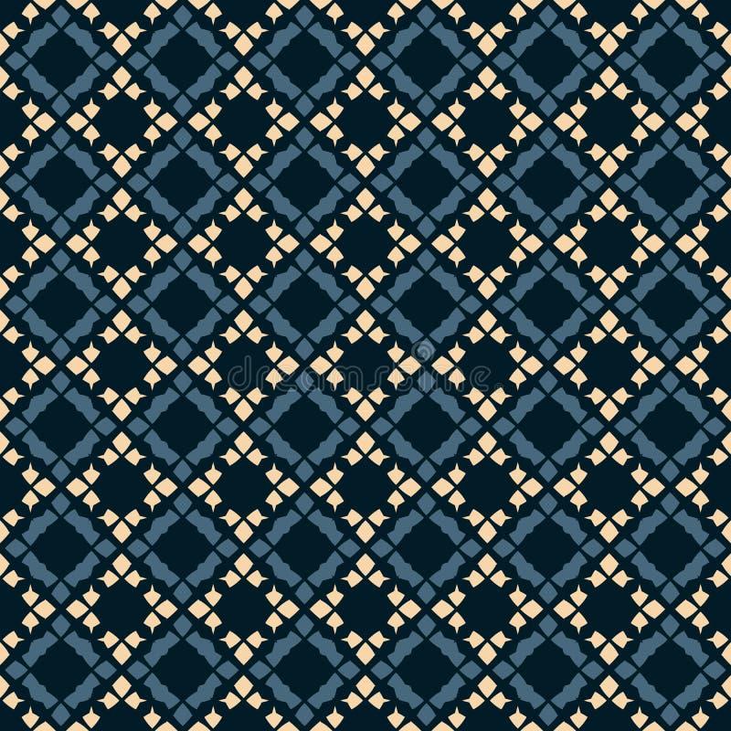 Modelo incons?til geom?trico del vector Ornamento popular Colores negros, azules y beige stock de ilustración