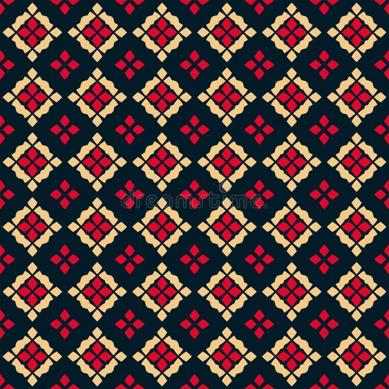 Modelo incons?til geom?trico del vector Ornamento popular Colores rojos, negros y amarillos ilustración del vector
