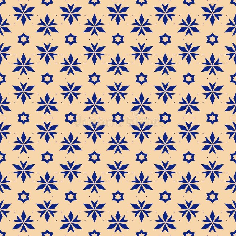 Modelo incons?til geom?trico floral del extracto del vector Textura amarilla y azul marino stock de ilustración