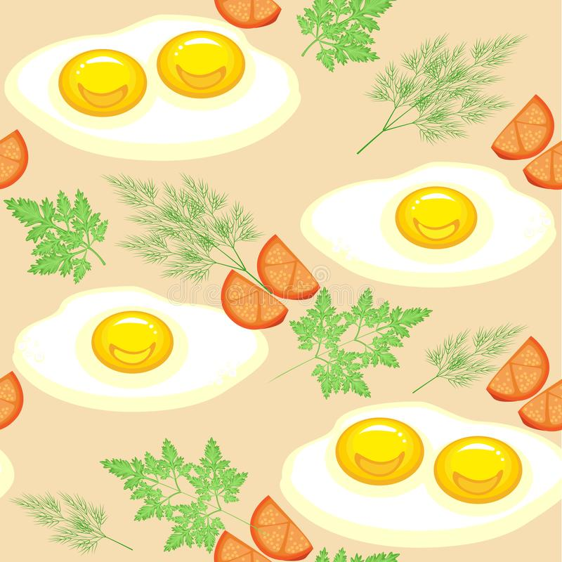 Modelo incons?til Huevos revueltos apetitosos con los tomates, el eneldo y el perejil Alimentos de preparaci?n r?pida deliciosos  libre illustration