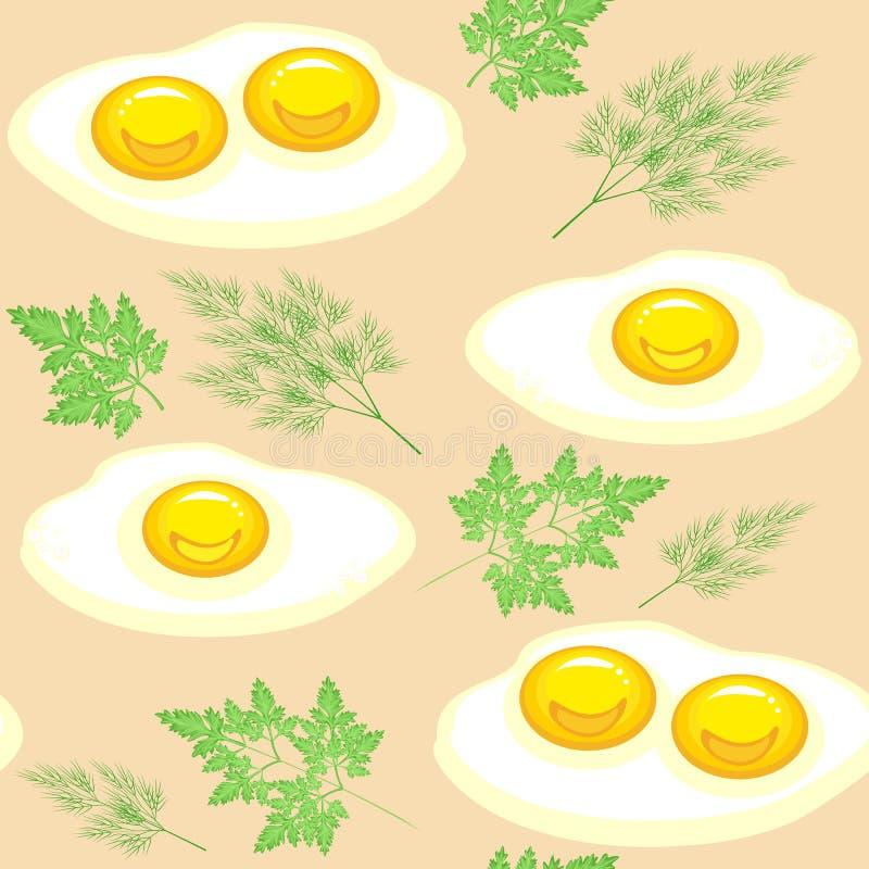Modelo incons?til Huevos revueltos apetitosos con perejil y eneldo en un fondo beige Conveniente como papel pintado en la cocina, stock de ilustración