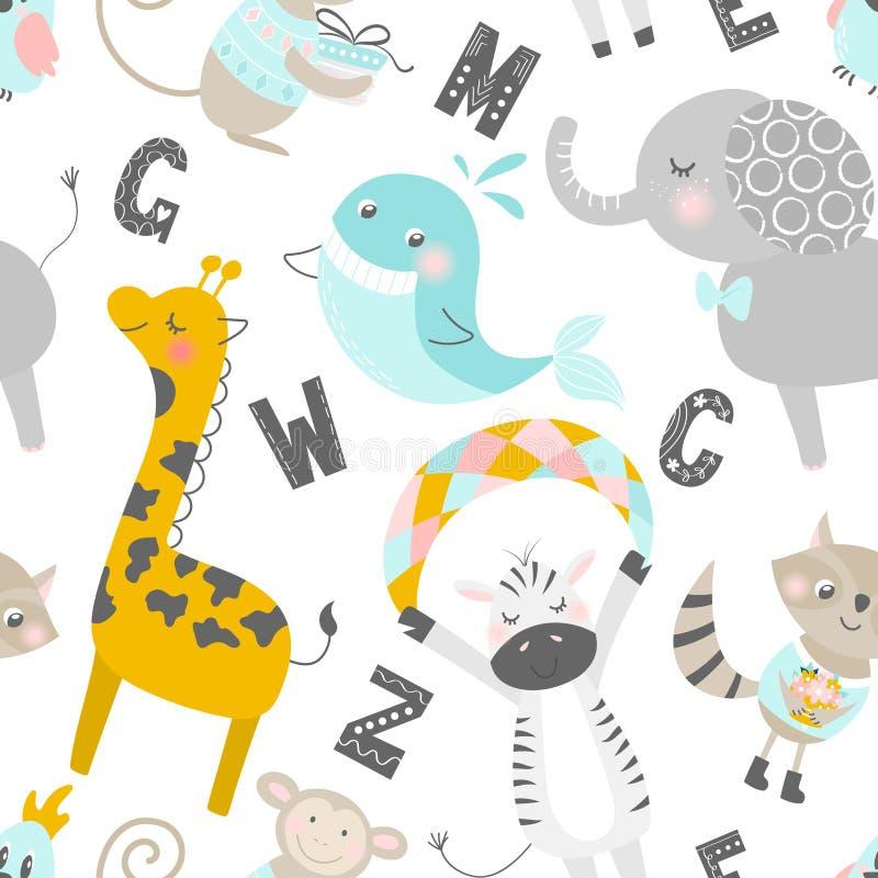 Modelo incons?til infantil con los animales y las letras exhaustos de la mano Fondo escandinavo de moda del vector Perfeccione pa libre illustration