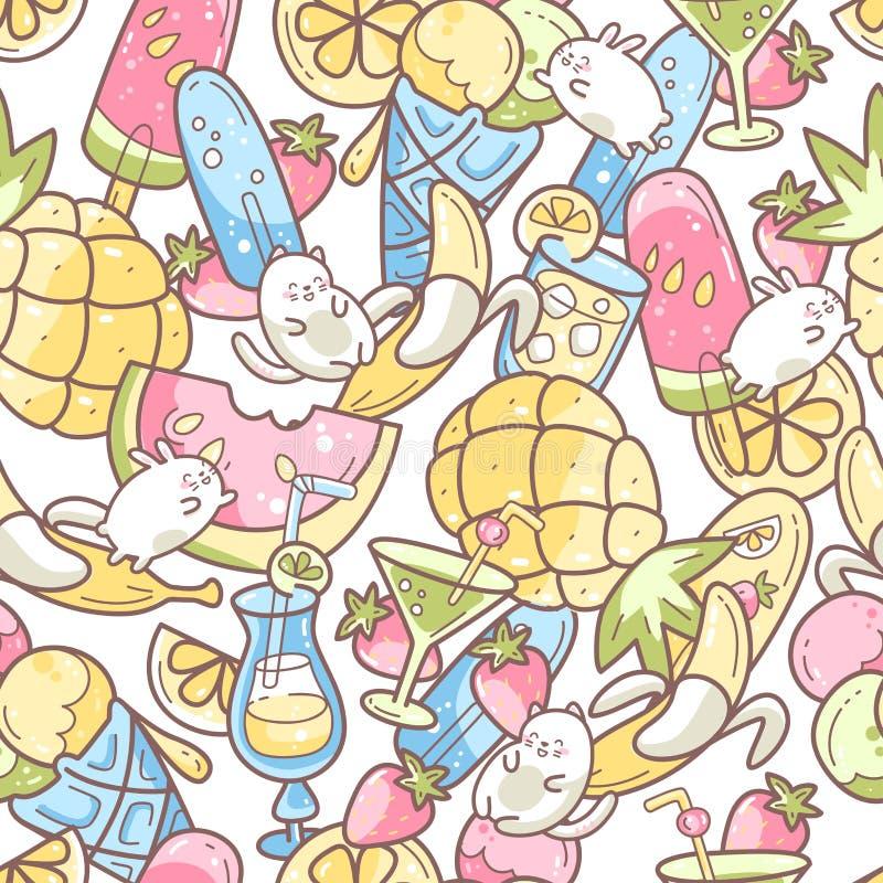 Modelo incons?til lindo de Kawaii con la comida del dulce de verano, helado, frutas y coctails y caracteres divertidos saltando e stock de ilustración