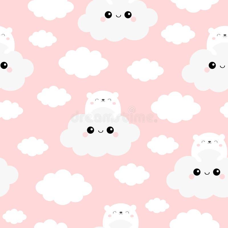 Modelo incons?til Nube de la tenencia de la cara del oso blanco en el cielo Car?cter sonriente divertido del beb? del kawaii lind stock de ilustración