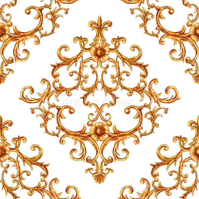 Modelo incons?til ornamental de los elementos de oro barrocos Textura exhausta del elemento del oro de la mano de la acuarela en  stock de ilustración
