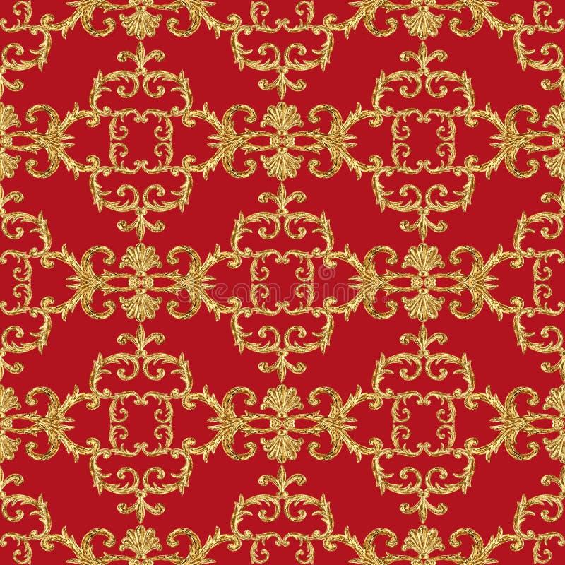 Modelo incons?til ornamental de los elementos de oro barrocos Textura exhausta del elemento del oro de la mano de la acuarela en  libre illustration