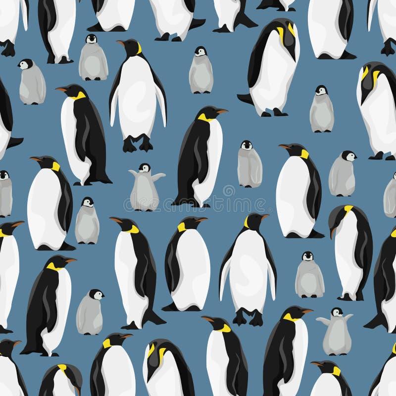 Modelo incons?til Pingüinos de emperador y sus polluelos en diversas actitudes en un fondo azul ilustración del vector