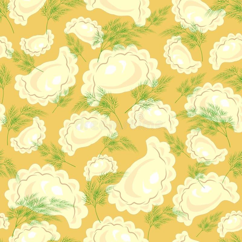 Modelo incons?til Raviolis deliciosos frescos, bolas de masa hervida con verdes, eneldo Conveniente como papel pintado en la coci ilustración del vector