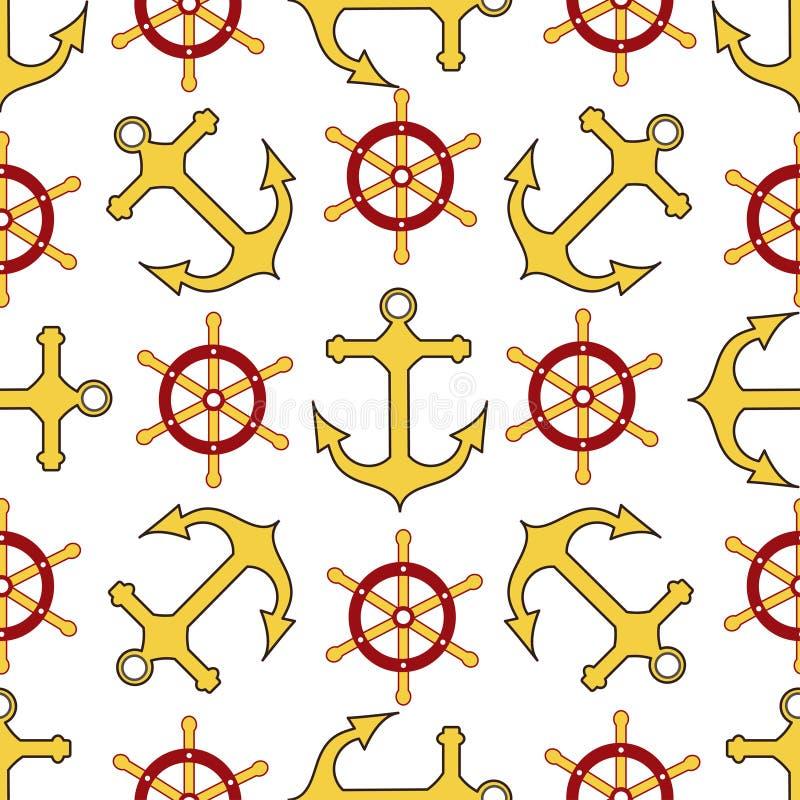 Modelo incons?til Rueda, ancla Texturas sin fin para su diseño del partido del pirata, tarjetas de felicitación, y, carteles - Gr ilustración del vector
