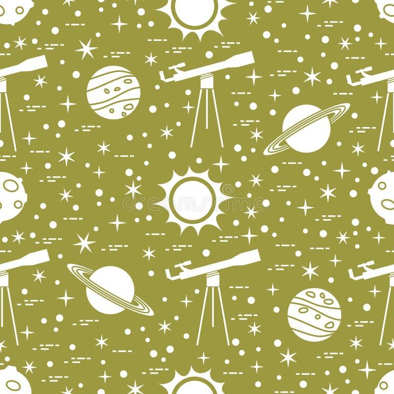 Modelo incons?til Telescopio, sol, planetas, estrellas ilustración del vector