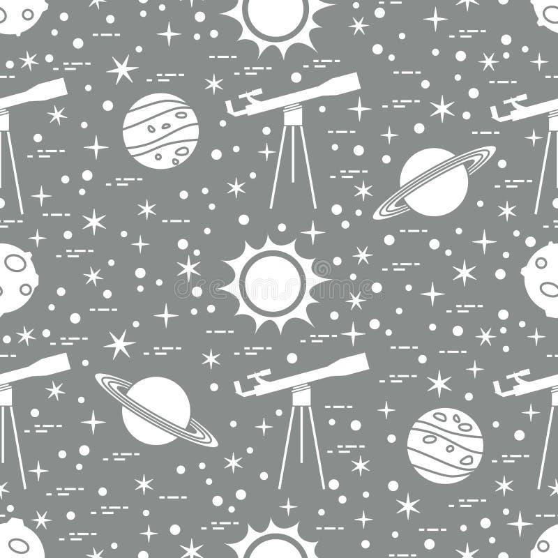 Modelo incons?til Telescopio, sol, planetas, estrellas stock de ilustración