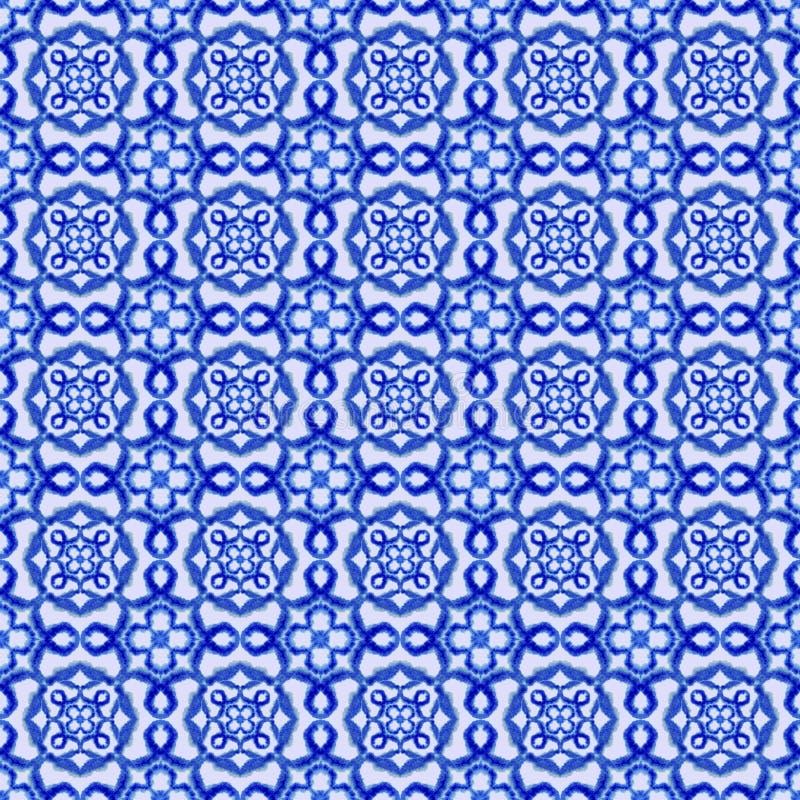 Modelo incons?til ?tnico Ornamento ?tnico del boho El lazo abstracto del batik teñió la tela, teñido de Shibori Relanzar el fondo stock de ilustración