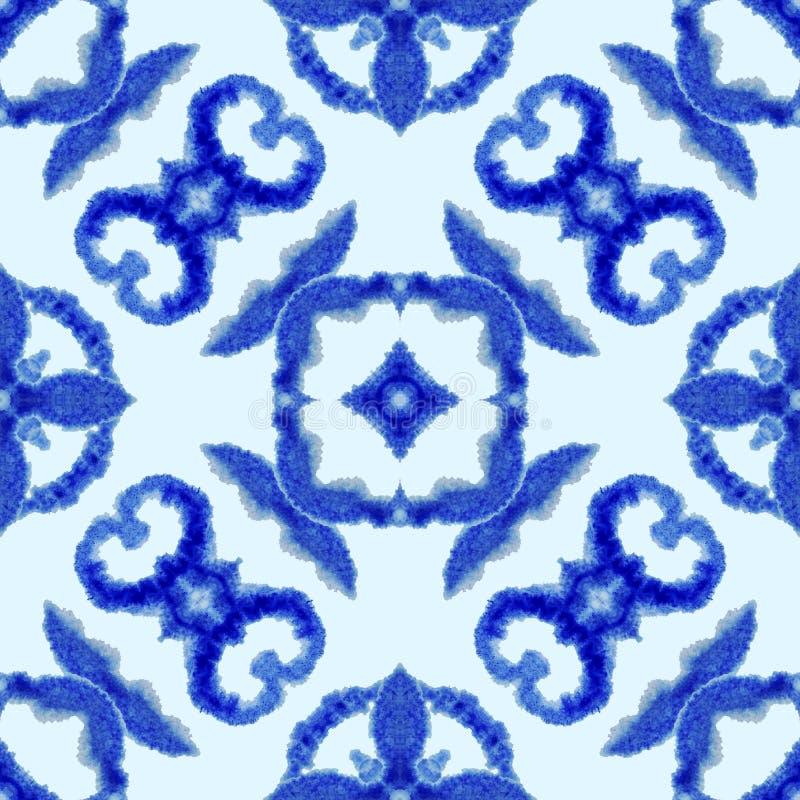 Modelo incons?til ?tnico Ornamento ?tnico del boho El lazo abstracto del batik teñió la tela, teñido de Shibori Relanzar el fondo ilustración del vector