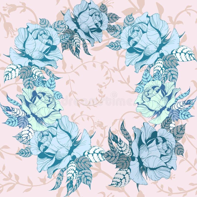 Modelo incons?til Vector Una rama de rosas con las hojas, las flores y los brotes libre illustration