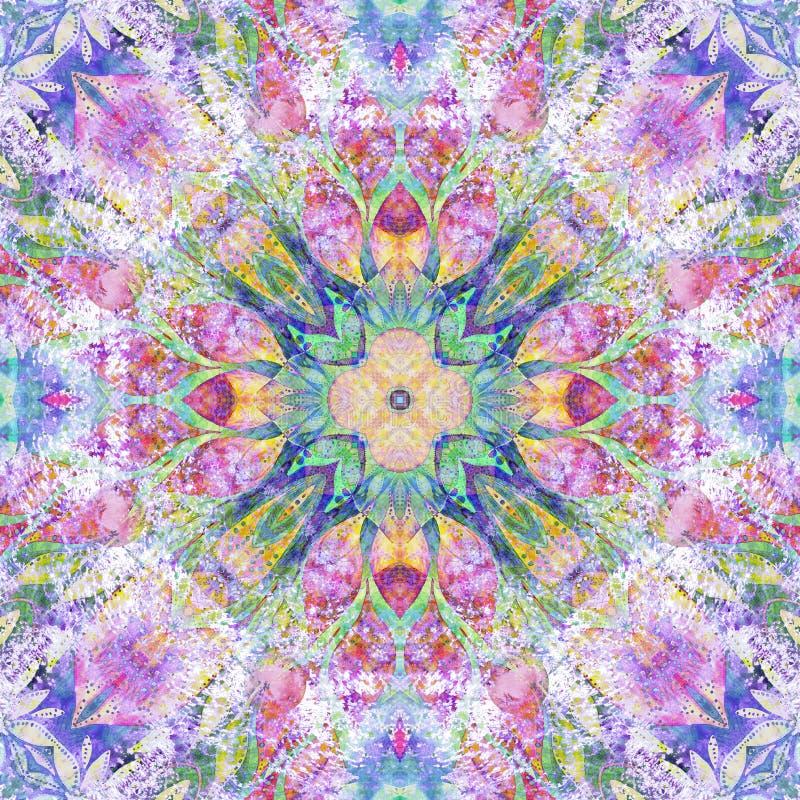 Modelo indio étnico colorido inconsútil brillante El collage con la acuarela hecha a mano borra, los pétalos, hojas, flores Parte libre illustration