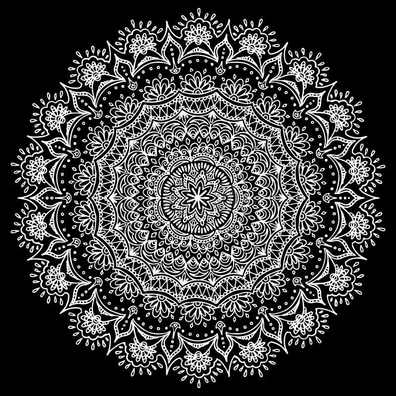 Modelo indio de los motivos Cordón redondo de la mandala del vector con la impresión floral stock de ilustración