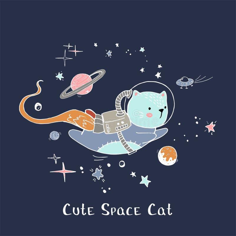 Modelo infantil creativo con el gato, los planetas y lema lindos Remiendo del vector para las ropas de la moda, la camiseta y el  ilustración del vector