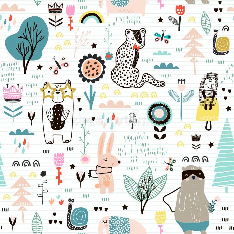 Modelo infantil inconsútil con las flores de hadas, oso, conejito, leopardo, erizo Textura creativa de la ciudad de los niños par libre illustration
