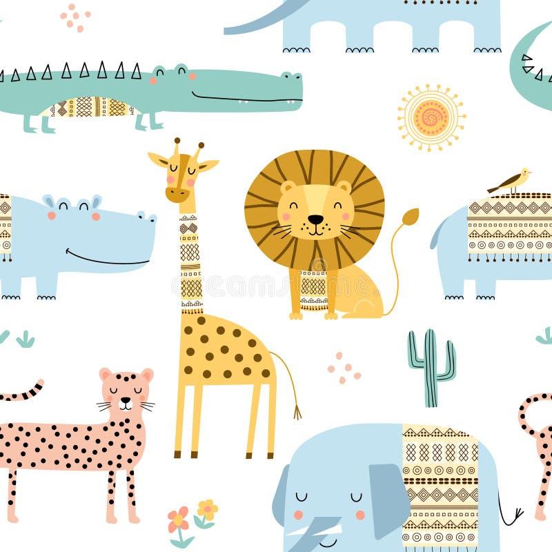 Modelo infantil inconsútil con los animales africanos lindos Textura escandinava para la tela, envolviendo, materia textil de los ilustración del vector