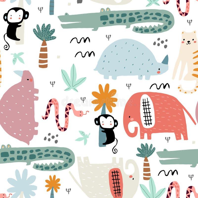 Modelo infantil inconsútil con los animales africanos Textura escandinava creativa para la tela, envolviendo, materia textil, pap stock de ilustración