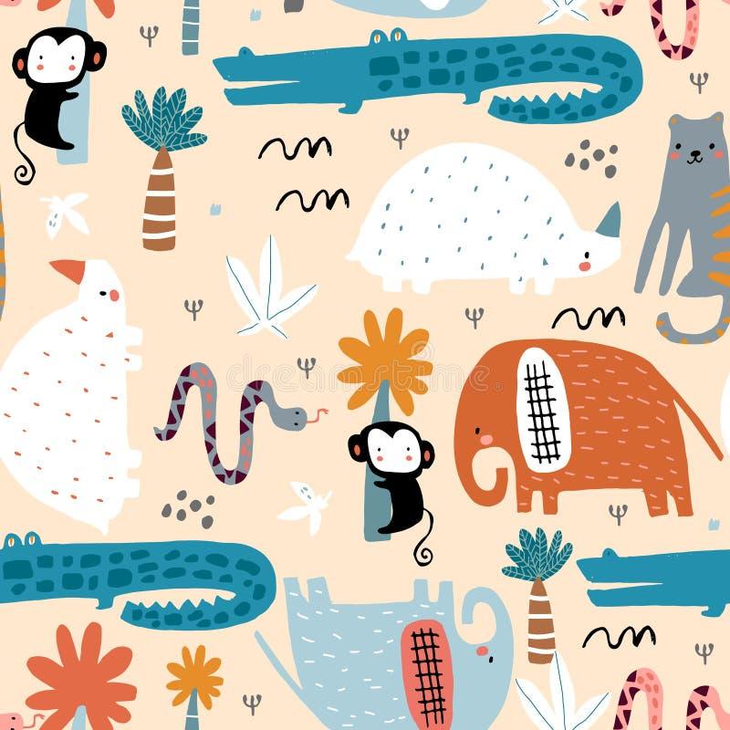 Modelo infantil inconsútil con los animales africanos Textura escandinava creativa para la tela, envolviendo, materia textil, pap ilustración del vector