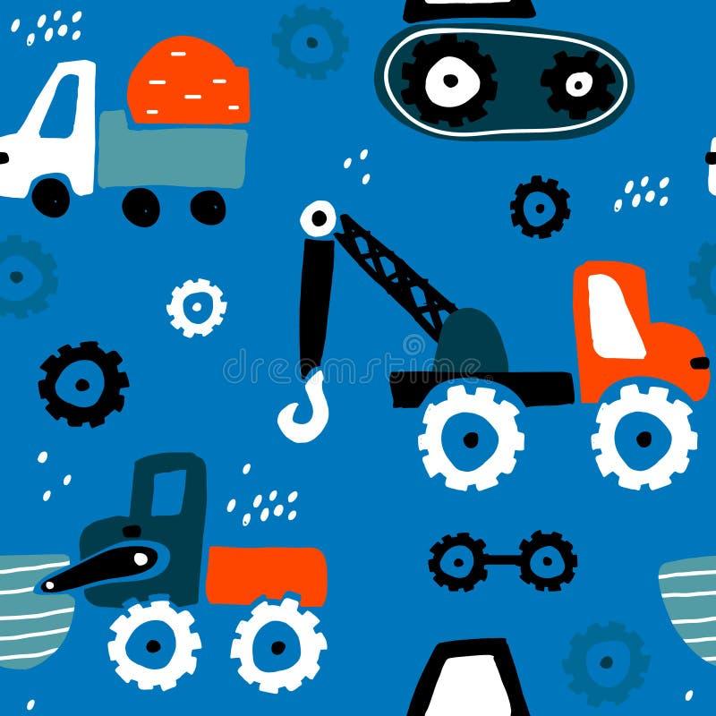 Modelo infantil inconsútil con los coches exhaustos de la mano Textura creativa para la tela, envolviendo, materia textil, papel  ilustración del vector