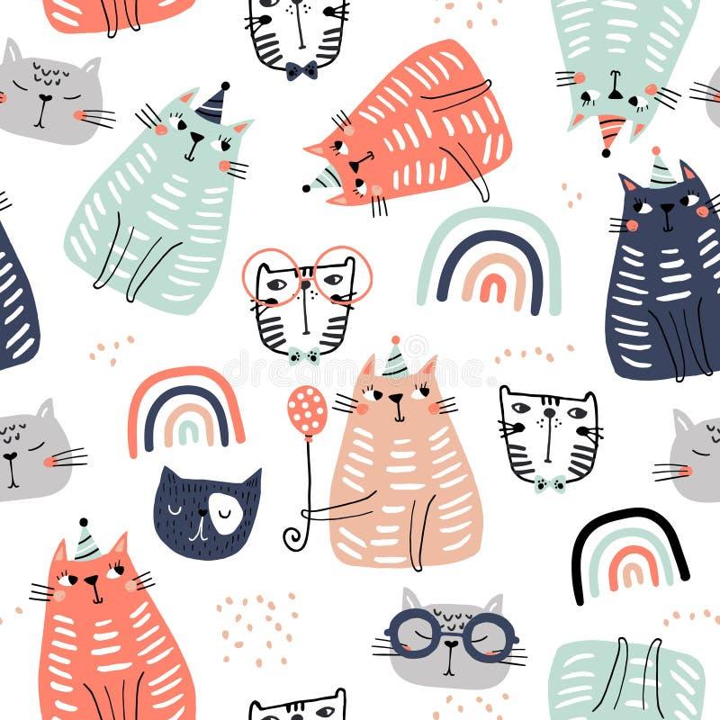 Modelo infantil inconsútil con los gatos y los ranbows coloridos divertidos Textura escandinava creativa para la tela, envolviend ilustración del vector
