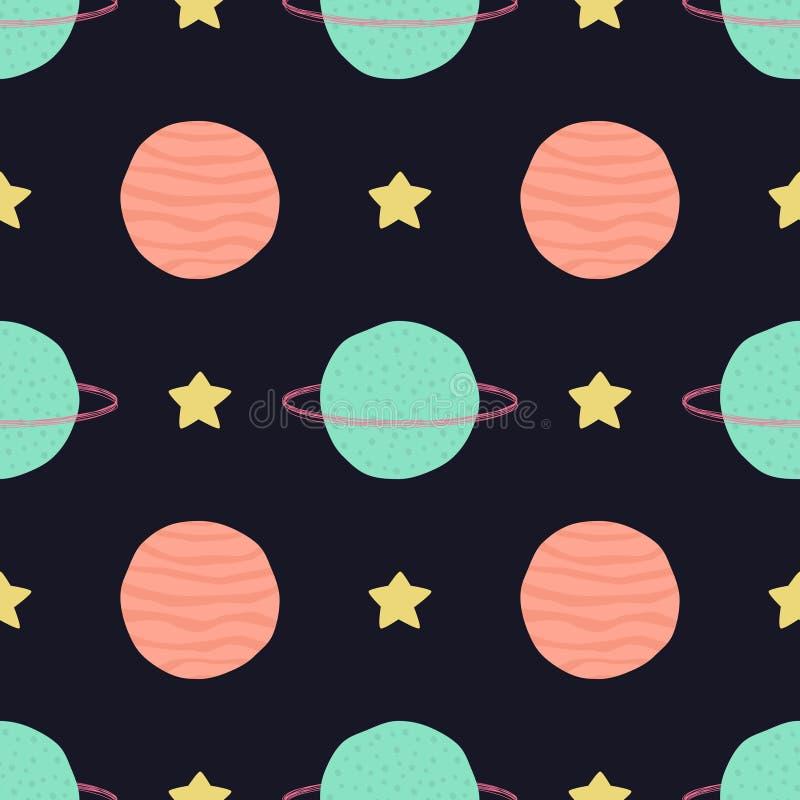 Modelo infantil inconsútil del vector con los elementos del espacio: estrellas y planetas ilustración del vector