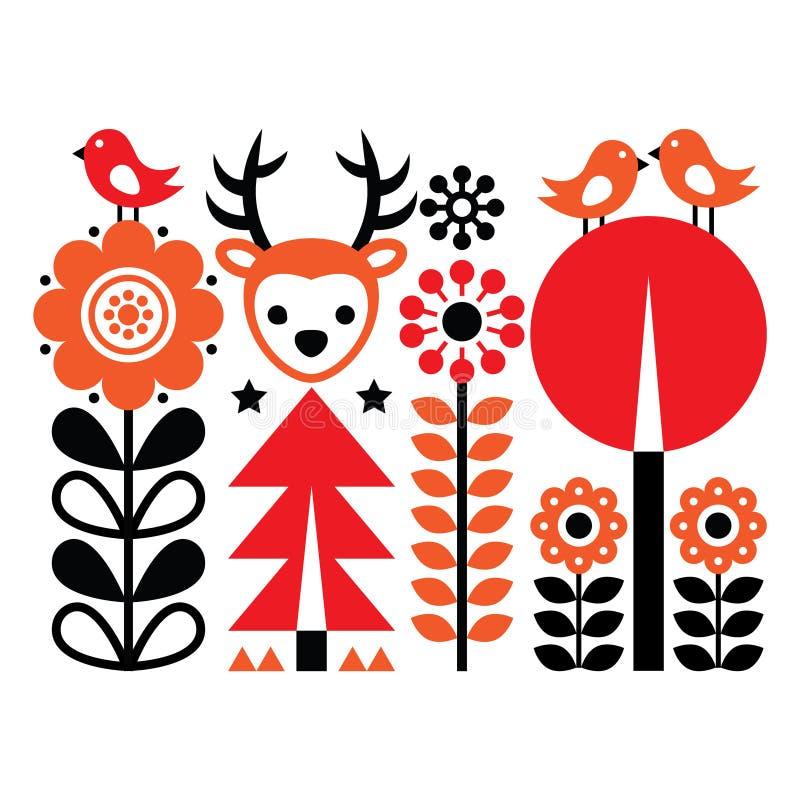Modelo inspirado finlandés del arte popular - escandinavo, estilo nórdico con las flores y animales stock de ilustración