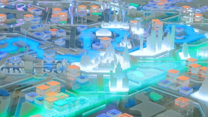 Modelo interativo da cidade 3D de Moscou imagem de stock