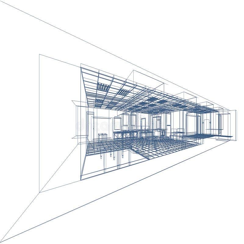 Modelo interior en negro stock de ilustración