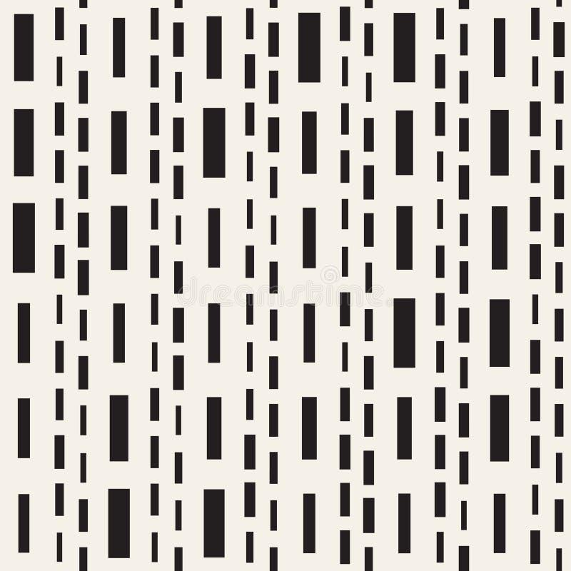 Modelo irregular blanco y negro de las líneas discontinuas Fondo inconsútil del vector abstracto moderno Rayas caóticas elegantes libre illustration
