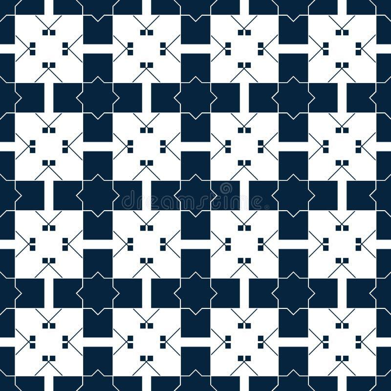 Modelo islámico azul Textura oriental del tartán Modelo inconsútil floral geométrico abstraiga el fondo Ornamento del invierno stock de ilustración