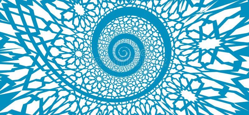 Modelo islámico, remolinado en forma del espiral 3d ilustración del vector