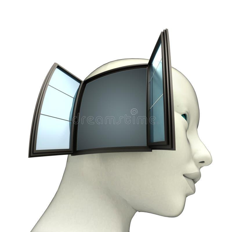 Modelo isolado da cabeça humana com a janela aberta no conceito lateral da ideia ilustração stock