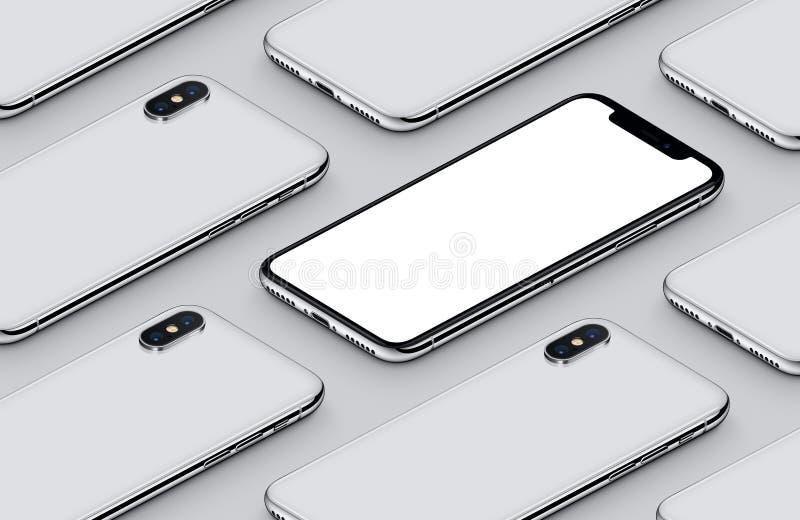 Modelo isométrico de la maqueta del smartphone de la perspectiva en superficie gris libre illustration