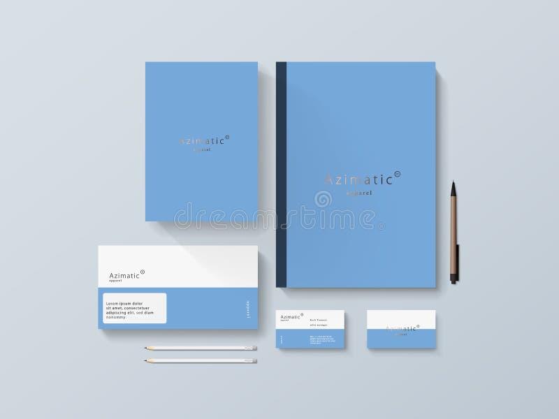 Modelo isométrico dos artigos de papelaria com Logo Template Ilustração do vetor fotografia de stock royalty free