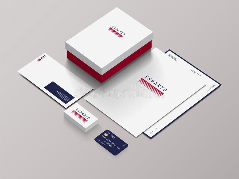 Modelo isométrico dos artigos de papelaria com Logo Template Ilustração do vetor imagens de stock royalty free
