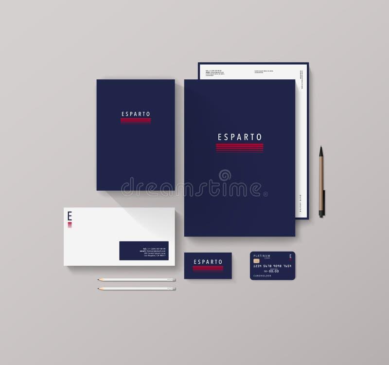 Modelo isométrico dos artigos de papelaria com Logo Template For Your Presentation imagens de stock royalty free