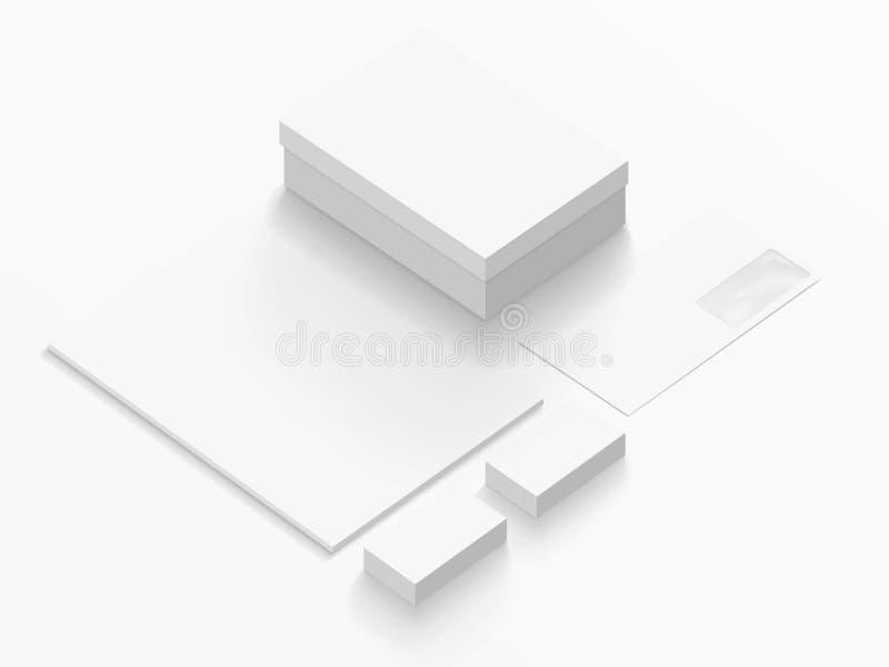 Modelo isométrico dos artigos de papelaria Ilustração do vetor imagem de stock