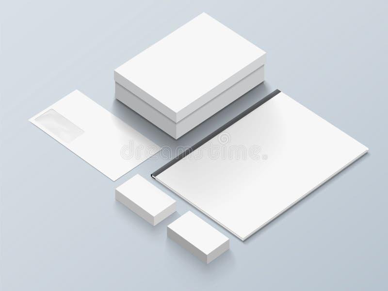 Modelo isométrico dos artigos de papelaria para sua apresentação imagens de stock