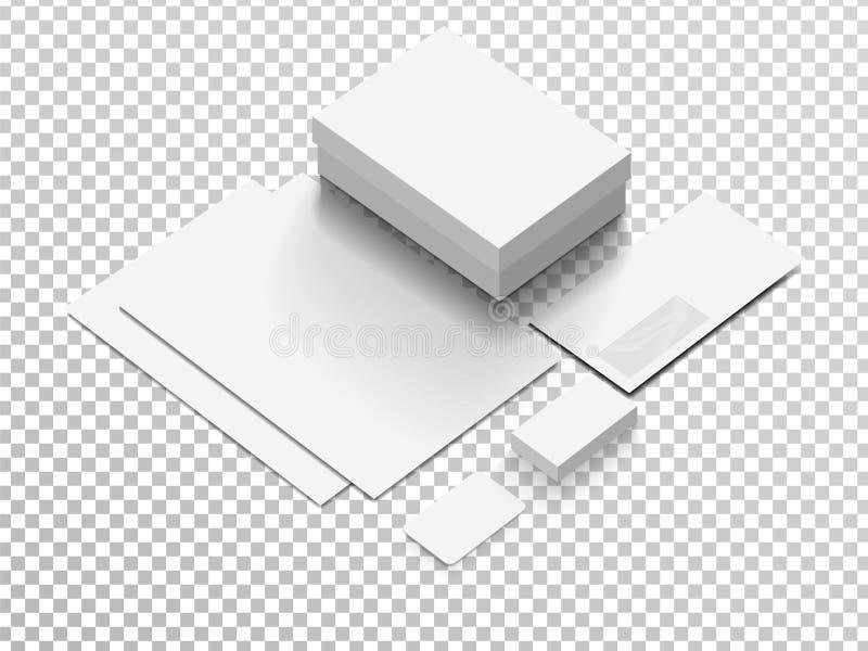 Modelo isométrico dos artigos de papelaria para sua apresentação imagens de stock royalty free