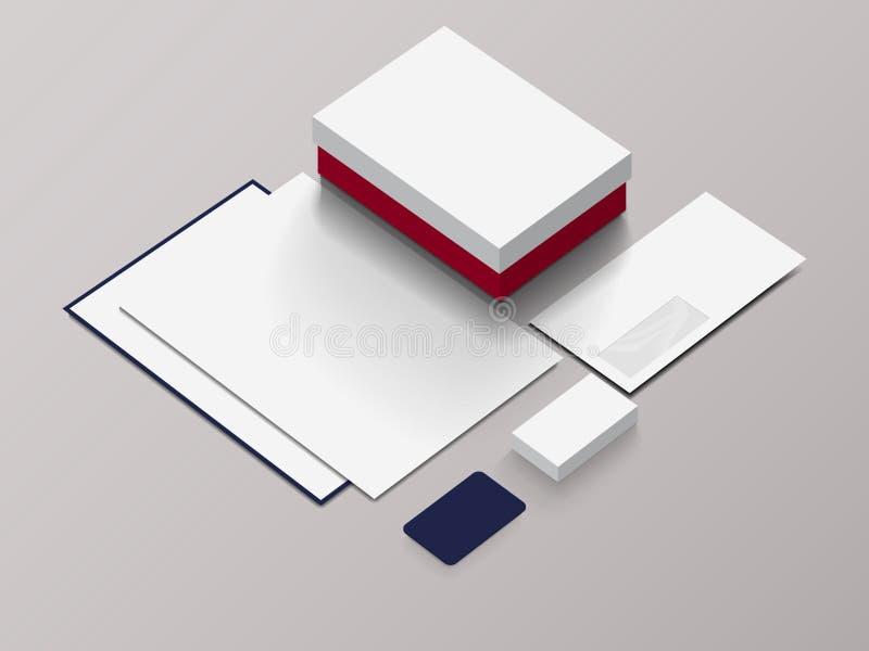 Modelo isométrico dos artigos de papelaria para sua apresentação fotos de stock royalty free