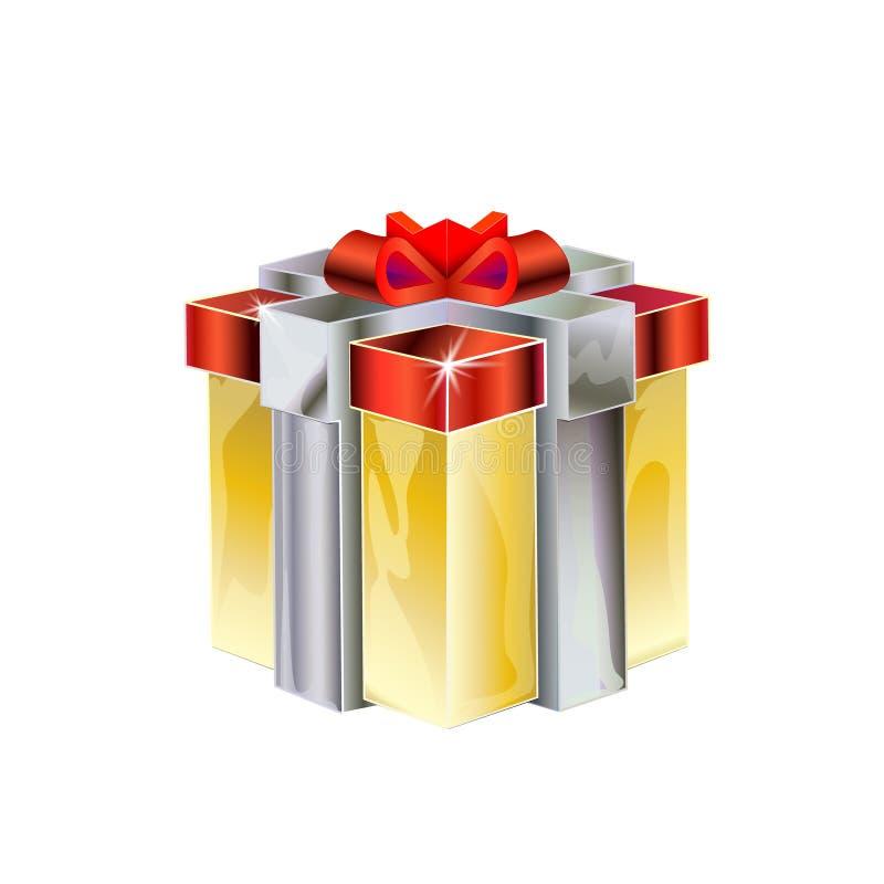 Modelo isométrico dos desenhos animados 3D do presente com curva vermelha Caixa de presente do ouro com prata da fita para a cele ilustração stock